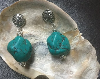Turquoise Nugget Earrings with Sterling Silver Filigree Posts
