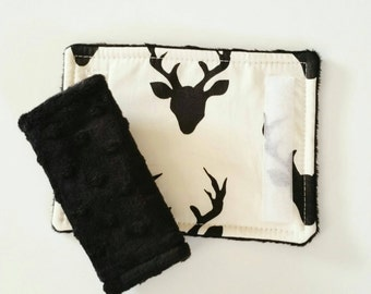 White and Black Deer Car Seat Strap Covers, Monochrome, Car Seat Straps, Deer Strap Covers, Rustic Car Seat, Woodland Baby Boy, Car seat boy