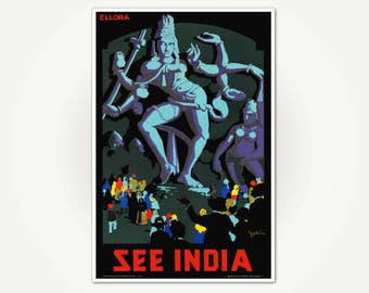 Ellora India Travel Poster Print - See India Vintage Indian Travel Poster Art
