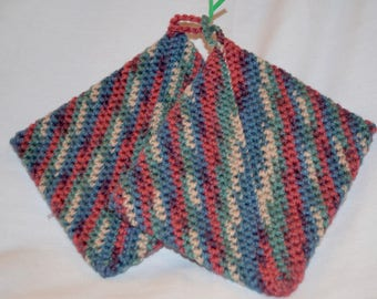 Crocheted HotPad/PotHolder Tan, Red, Blue, Green