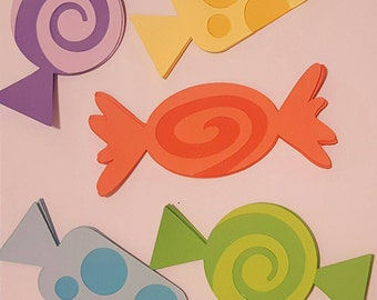 10 CANDY PIECES--3x3--Cupcake Toppers--Willy Wonka--Centerpeices--Confetti--Baby Shower--Birthday--