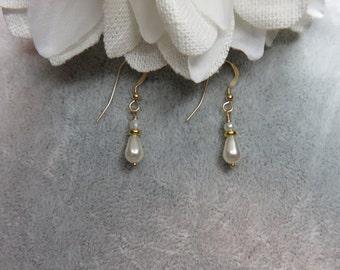 Dainty Teardrop Pearl Earrings on Gold Ear Wires