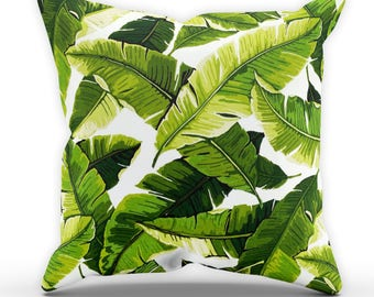 Bright Banana Leaf Cushion, Palm Leaf Cushion, Garden Cushion, Cushion Cover, Square Cushion, Leaves Cushion STP570