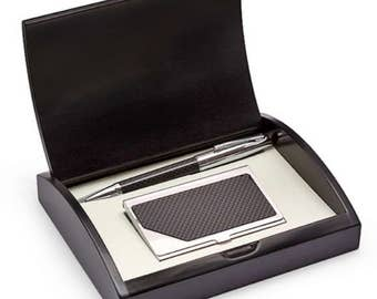 Personalized Carbon Fiber Pen and Business Card Case Gift Set With Black Box - G270