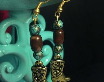 Gold Boot Earrings