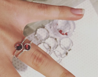 """Ring """"dots"""" in silver with natural Garnet"""