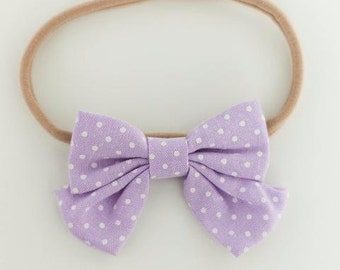 Purple Polka Dot Bow Headband for Newborn-24 months