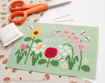 Pretty Flowers Mother's Day Card Cross Stitch Pattern PDF | Easy | Modern | Beginners Counted Cross Stitch | Instant Download