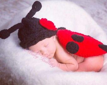 Ladybug Outfit, Newborn ladybug costume, Crochet Outfit, Newborn outfit,1st picture outfit, Ladybug hat, Baby ladybird hat, Ladybird outfit