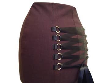 BURGUNDY STEAMPUNK FISHTAIL skirt, long gothic skirt, victorian full length skirt, burlesque skirt, corset skirt, maroon skirt, sz 14 16