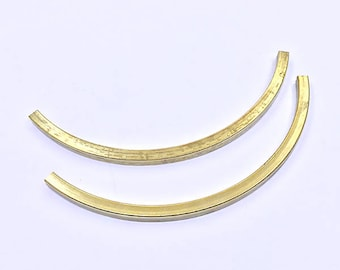 5 pcs Raw Brass 120x4mm Curved Tubes | Raw Brass Tubes, Brass Tube, Curved Findings, Tube Beads, Curved Tube Beads,120mm Tube,Huge Tube Bead
