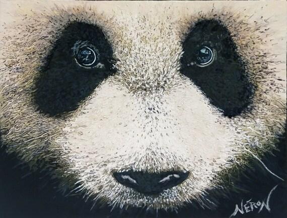 Panda Bear Fine Art Bestiary Acrylic Painting Animal Wall Art