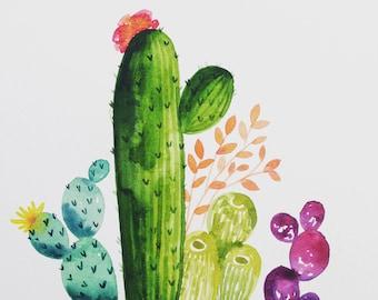 Watercolor cactus - hand painted - desert - succulents - wall art - gallery wall - watercolor - cacti - saguaro - prickly pear