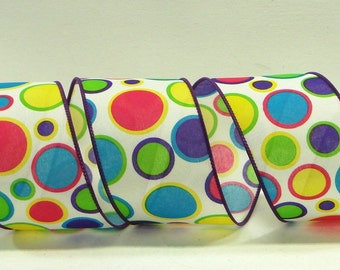 2.5 inch  Wired Ribbon ~ White Satin Ribbon with Bright Multi Colored Dots ~ Craft Ribbon ~ Great For Wreaths or Bows ~ 3 Yards