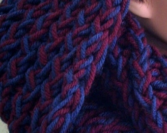 Women's blue and burgundy cowl, infinity scarf, hood.