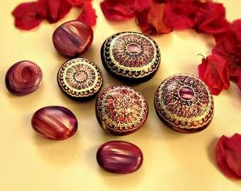 Mandala stones, pointillism, bohemian dot art, painted rocks, mandala rocks, mandala art, mandala decor, purple decor, plum decor
