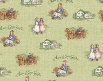 Anne of Green Gables Fabric - Riley Blake Fabric - Anne Main Green - Fabric by the yard - Cotton - Book - Literary - Feminine Fabric - Girl