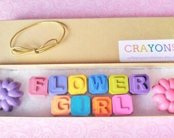 Flower girl gift - Kids wedding favors - Personalized crayons - Kids wedding gift - Gift for flower girl - Will you be my flower girl