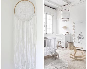 Extra Large Dream Catcher for Wedding or Nursery Decor, Giant Dream catcher, White Dream Catcher, White Dreamcatcher,  Large Wall Hanging