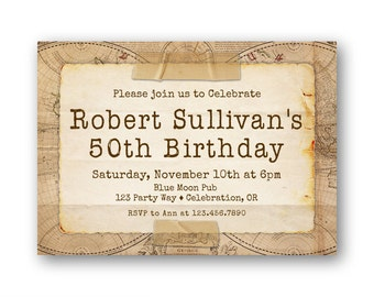 30th Birthday Invitation, Thirty, 40th, 50th Birthday Invitation, Men's Birthday, Milestone Birthday Invitation - Printable or Printed