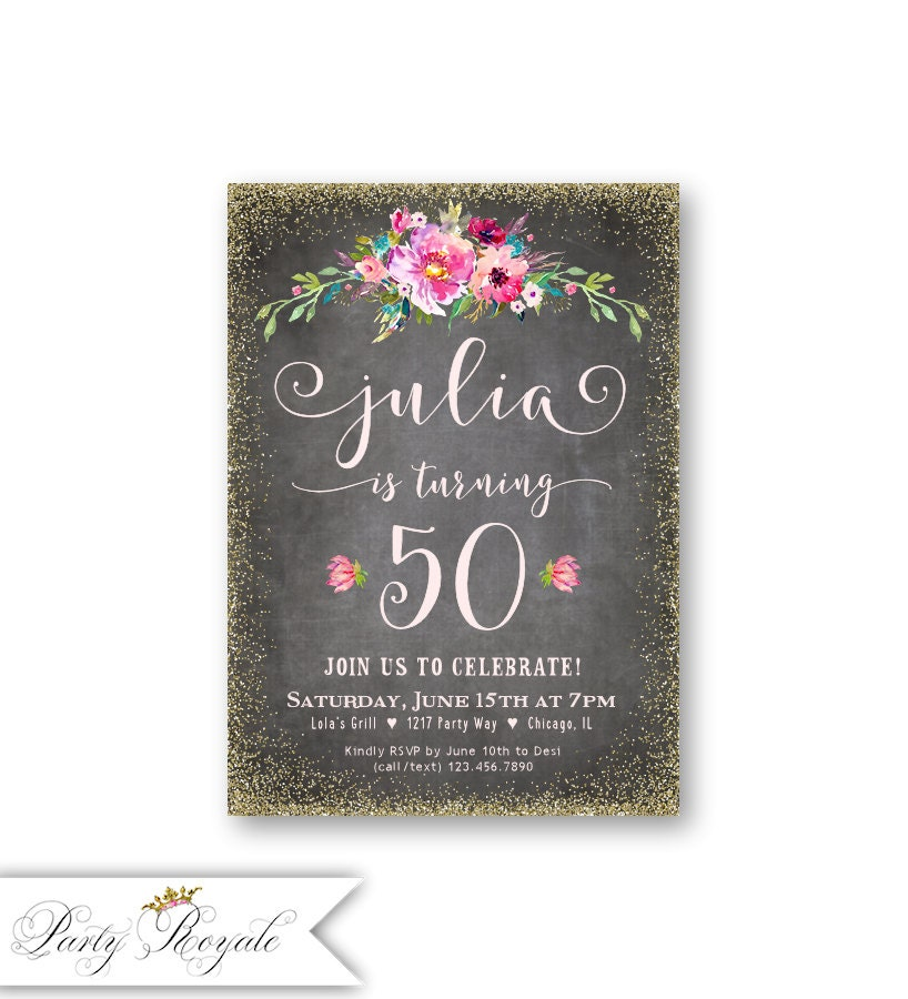 50th Birthday Invitations For Her / Women's 50th Birthday