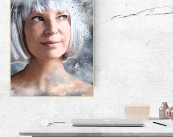 Sia Exclusive Asize 50cmx70cm poster, Sia instant download, Sia print, Sia wall art, Sia printable