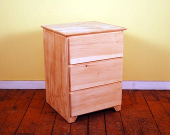 Modern Three Drawer Finished/Unfinished Small Bedroom Nighstand