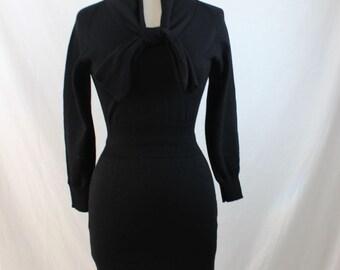 1950s Vintage Black Wool Sweater Dress Size Small
