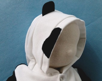Panda bear hoodie - Hooded sweat-shirt with ears for babies aged 0-3 months