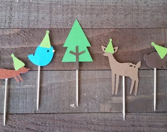 Woodland Friends Cupcake Toppers, 12 Woodland Animals Food Picks, Cute Woodland Cake Picks with Party Hats