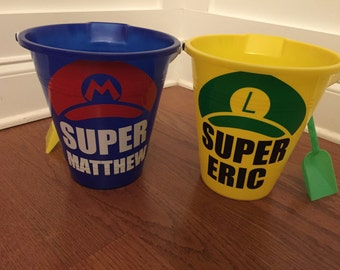 """Personalized """"Super Mario"""" Themed Beach Buckets; Personalized Party Favors"""