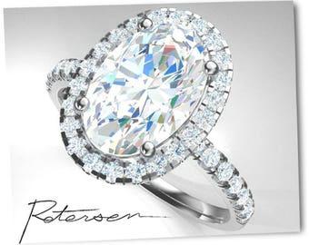 14K White Gold Engagement Ring Unique Design 5 Carat Diamond Simulant Ring Halo Styled White Gold Moissanite Ring (Moissanite simulant)