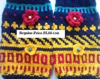 SALE Leg Warmers Knit Leg Warmers Knitted Leg Warmers Flower Bohemian Leg Warmers,  wool socks with flowers, wool socks,woman leg warmers