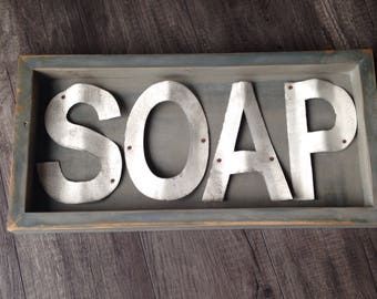 Soap Sign, Bathroom Decor, Laundry Room Decor, Rustic Metal Sign