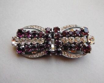 Vintage Crystal and Purple Diamante Rhinestone  Duette Brooch - Dress Clips