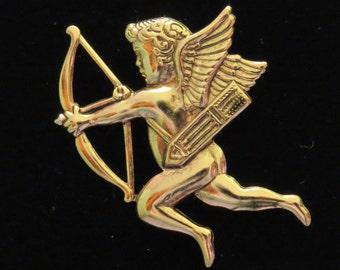 Cupid Shooting Bow & Arrow Pin Brooch Cherub Valentine Love Romance Romantic 24 Karat Gold Plate PG005