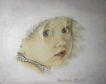 portrait from photo, oil on canvas of 30-40 cm, original painting, make to order