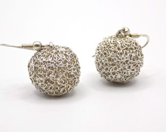 Earrings ball earrings sterling silver, brushed silver, elegance, purity, loop metal clay, hand made jewelry