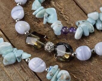 LARIMAR Jewelry Set - Smokey Quartz Crystal, Blue Lace Agate, Iolite Beads, Sterling Silver Larimar Necklace Earrings and Bracelet Set J1160