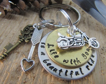 hand stamped key chain, motorcycle key chain, anniversary gift, gift for boyfriend, valentines day gift, girlfriend, spouse gift, motorcycle