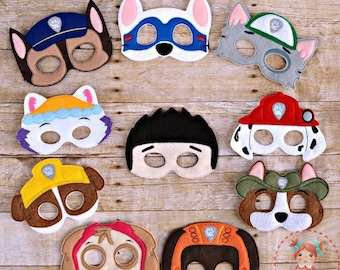 Paw Patrol Inspired Masks Marshall Chase Ryder Rubble Rocky Skye Tracker Apollo Zuma Everest Birthday Party Idea Play Costume