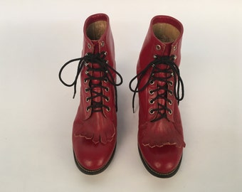 Size 8 Justin red leather lace up boots
