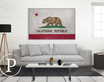 California Flag Canvas, Single Panel Large Canvas, Three Panel Large Canvas, California Flag, Large Canvas Wall Art, Vintage Flag on Canvas