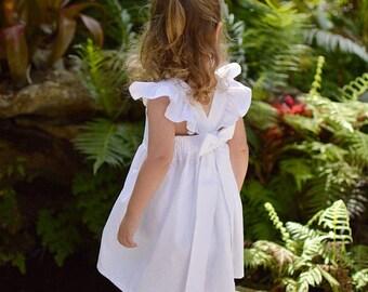 Flower Girl Dress, Baby Girls Dress, Little Girls Dress, Toddler Dress, Childs Dress, Party Dress, Flutter Sleeve Dress, White Dress
