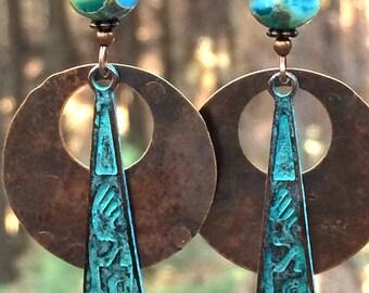 Native American earrings, Native American jewelry, Hopi, Kokopelli earrings, copper earrings, copper jewelry