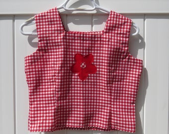 1960s picnic table two-piece set/ 1960s skirt and shirt set/ vintage set