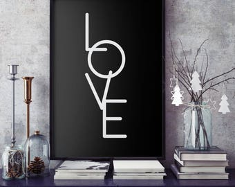 Love, typography poster, love hope and faith set, wall art, typography set, Little Tiger Designs, black and white, Giclee fine art print