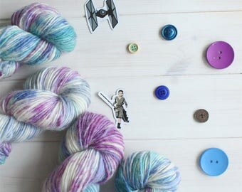 Galaxy - Star Wars themed hand dyed yarn - 100g aran weight - merino, silk, and mohair blend