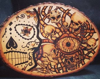 """Wood Burned - Pyrography """"Skullage"""" Skull Collage Art Piece on Basswood Round Plaque"""