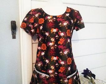 Womens Made to Order Dress Australian Made Dress Summer Dress Mod Dress Tunic Dress Cap Sleeve Dress Flower Dress Vintage Look Dress Pockets